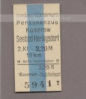 Pappfahrkarte Deutsche Reichsbahn --> Koserow - Seebad Heringsdorf  ( Sonntagsrück ) - Europa