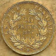 FRANCE 20 FRANCS LAUREL LEAVES FRONT NAPOLEON III HEAD BACK 1857 A AU GOLD KM? EF READ DESCRIPTION CAREFULLY!! - Gold