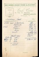 FACTURE  BOUCHERIE CHARCUTERIE Du DAUPHIN EMILE CORDIER à HONFLEUR 1932/33 - Alimentare