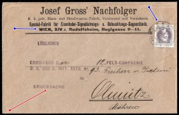 Austria A1890. Printed Matter Cover Franked By 1 Kr Newspaper Stamp Tide By OLMÜZ 1 Arrival Cancel - Briefe U. Dokumente