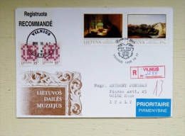 Cover From Lithuania 1998 Vilnius To Italy Special Cancel Fdc Art Painting Museum Registered - Lithuania