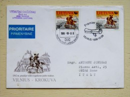 Cover From Lithuania 1998 Vilnius To Italy Special Cancel Fdc Krakow Post 2 Different Spec. Cancels Week Of Letter Horse - Lithuania