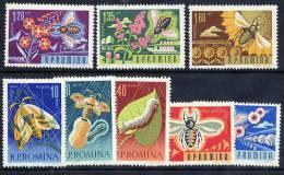 ROMANIA 1963 Bees And Silkworms Set  MNH / **.  Michel 2214-21 - 1948-.... Republics