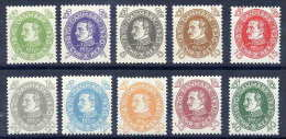 DENMARK 1930 Birthday Of King Christian X Set Of 10 MNH / **.  Michel 185-94 - Unused Stamps
