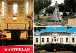 MANTHELAN - LE CHOEUR DE L'EGLISE  - LA MAIRIE - MONUMENT AUX MORTS - France