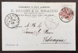 BOLZANETO SU 10 C. - PASTE ALIMENTARI E.GUIDO & G.BRACCO - CARTOLINA VIAGGIATA 1899 - Werbepostkarten