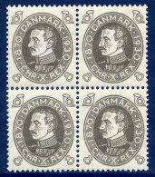 DENMARK 1930 Birthday Of King Christian X  8 Øre Block Of 4  MNH / **.  Michel 187 - 1913-47 (Christian X)