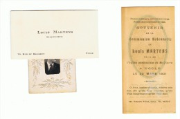 Carte De Visite, Photo Et Souvenir De Communion De Louis MARTENS, Instituteur - UCCLE +/-1940 (ALB) - Cartes De Visite