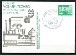 """DDR 1981 Ganzsache Mi.PP16 Mit Privaten Zudruck""""Volksentscheid""""mit SST""""Limbach-Oberfrohna-35 Jahre Volksent...""""1 GS Used - DDR"""