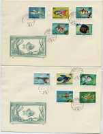 HUNGARY 1962 Fish Set Of 10 On 2 FDC's.  Michel 1820-29 - FDC