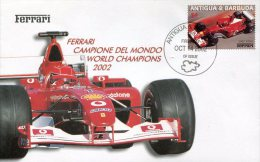5355 Antigua,  Special Cover And Postmark 2002, Auto Racing World Champ. F1  Ferrari - Automobilismo