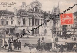 CPA [49] Maine Et Loire > Angers - Le Théâtre Et Place Du Ralliement - Animée - Fiacres - Angers