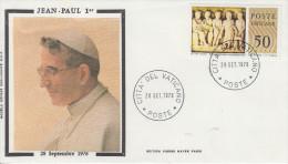 Enveloppe  Historique   VATICAN    28  Septembre  1978   Décés   Du  Pape  JEAN  PAUL  1er - FDC