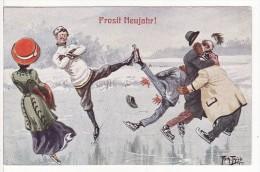 Carte Postale Fantaisie Dessin-Arthur THIELE Illustrateur-Prosit Neujahr-Bonne Année-Patinage-Patins à Glace-Sport Hiver - Thiele, Arthur