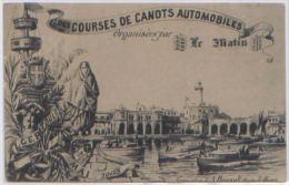 CPA COURSES DE CANOTS AUTOMOBILES ALGER TOULON 1905 JOURNAL LE MATIN DESSIN DE SCHIL - Toulon