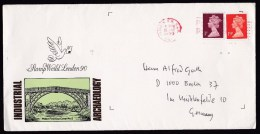 UK: Cover To Germany, 1990, 2 Stamps, Machin, Red Cancel (traces Of Use) - 1952-.... (Elizabeth II)
