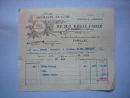 Facture Illustrée 1929 Maison Basile Favier Fromages En Gros Cantal & Laguiole à Aurillac Cantal Format A5 - Alimentare