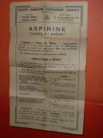Rare Document Publicitaire Usines Du Rhone, Poulenc Frères, ASPIRINE - Publicités