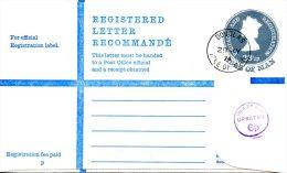ILE DE MAN. Postal Stationery Registered Letter Registration Envelope Cancellation 1974. - Isle Of Man