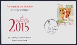 "2015 MONACO ""GRACE KELLY / FILM / LE CYGNE"""" FDC - FDC"