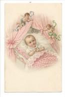 13898 - Bébé Dans Son Berceau Protégé Par Deux Anges - Bébés