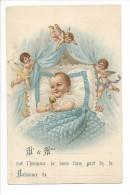 13899 - Bébé Dans Son Berceau Protégé Par Trois Anges Faire Part De Naissance - Bébés