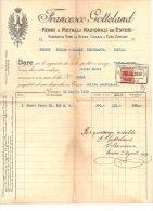 """04871 """"FRANCESCO GOTTELAND - FERRI E METALLI NAZ. ED ESTERI - 1919"""" CARTA INTESTA ORIGINALE. - Italia"""