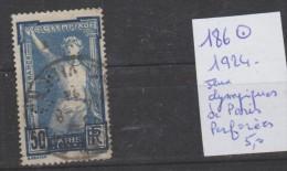 TIMBRE DE FRANCE OBLITEREES   Nr 186 ° PERFORE ANNEE 1924 COTE 5€  JEUX OLYMPIQUE DE PARIS - France
