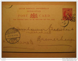 GIBRALTAR 1903 To Bremerhauen Alemania Germany One Penny UPU Post Card Stationery Spain Area British Colonies - Gibraltar