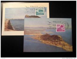 Campo De Gibraltar Peñon Roca 2 Sellos Stamps Tarjetas Marxima Maximum Maxi Card Spain British Colonies Madrid - Gibraltar