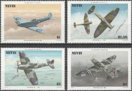 """NEVIS 360-3 """"50 Jahre Spitfire - Flugzeuge"""" MNH / ** / Postfrisch - St.Kitts Und Nevis ( 1983-...)"""