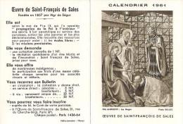 """Calendrier """" Oeuvre De Saint François De Salle """" - Année 1961 - Petit Format : 1961-70"""