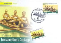 Italia 2008 FDC Maximum Card 120° Anniversario Della Federazione Italiana Canottaggio - Canottaggio