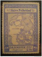 Skive Folkeblad 38 Kort I Bogformat 2kr Map Geography Maps Topography Lion Poster Stamp Label Vignette Viñeta Denmark - Autres