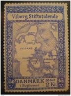 Viborg Stiftstidende 38 Kort I Bogformat 2kr Map Geography Maps Topography Lion Poster Stamp Label Vignette Denmark - Autres