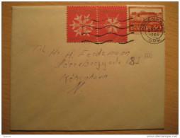 1966 Kobenhavn Cancel Cover + Pair 2 Poster Stamp Label Vignette Viñeta Julen Christmas Denmark - Lettres & Documents
