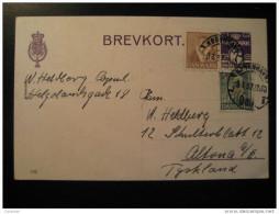 Kobenhavn 1937 To Altona Germany 2 Stamp On Postal Stationery Card Denmark - Lettres & Documents