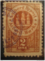 Aalborg 2 Ore Bypost Accord Maerke Bude Udleies Local Poster Stamp Label Vignette Viñeta Denmark - Emissions Locales