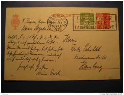 Kobenhavn 1937 To Hamburg Germany 5 + 15 Brevkort Postal Stationery Card Post Card Denmark - Postal Stationery