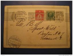 Kjobenhavn 1907 To Berlin Germany 2 Stamp On Brevkort Postal Stationery Card Post Card Denmark - Entiers Postaux