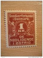 De Nodlidende I Ostrig 1 Kr Denmark Poster Stamp Label Vignette Viñeta - Autres