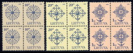 LITHUANIA 2002 Definitive 10c, 20c, 1 L. Dated 2002, Blocks Of 4 MNH / **.  Michel 717-19 C II - Lithuania