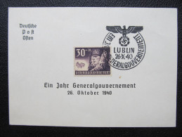GENERALGOUVERNEMENT 1940 Gedenkblatt 1940 /// D*19222X - Besetzungen 1938-45