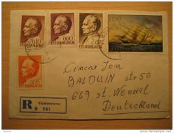 YUGOSLAVIA Vladimirovac 1969 To St Wendel Germany 5 Stamp Tito Paint Ship On Registered Cover - 1945-1992 Sozialistische Föderative Republik Jugoslawien