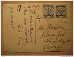Zagreb 1951 To Klagenfurt Austria Tax Taxed + 2 Overprinted Stamp On Sretna Nova Godina Post Card YUGOSLAVIA - 1945-1992 Sozialistische Föderative Republik Jugoslawien