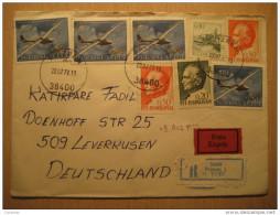 Prizren 1972 To Leverkusen Germany 8 Stamp + Expres Registered 2 Label On Cover Yugoslavia - 1945-1992 Sozialistische Föderative Republik Jugoslawien