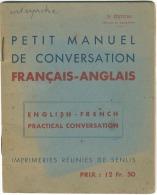 """""""PETIT MANUEL DE CONVERSATION FRANCAIS - ANGLAIS"""" - 1944 - Language Study"""