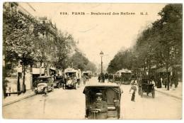 Paris. Boulevard Des Italiens. Envoyée En 1913. Autobus, Attelages, Automobiles Ancêtres (oldtimers), Chauffeur. - Arrondissement: 02