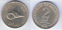 **** MALDIVES - 2 RUFIYAA 1995 PACIFIC TRITON SEA SHELL *** EN ACHAT IMMEDIAT !!! - Maldives