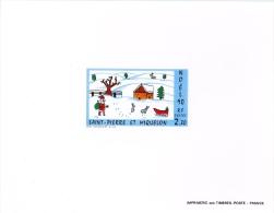 Miquelon Noël Dessin Enfant - Non Dentelés, épreuves & Variétés
